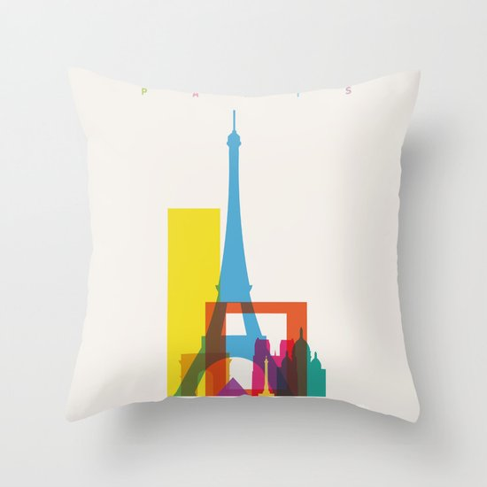 Shapes of Paris. Accurate to scale. Throw Pillow