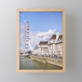 Postcard Picture of the London Eye & The Thames, bright blue tint Framed Mini Art Print