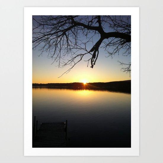 Yellow Sunset at the Lake Art Print