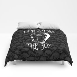 Think Outside The Box Goth Coffin Humour Comforters