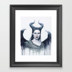 Maleficent Watercolor Portrait Framed Art Print