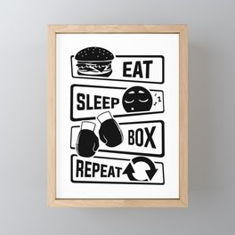 Eat Sleep Box Repeat - Boxing Boxer Uppercut Jab Framed Mini Art Print