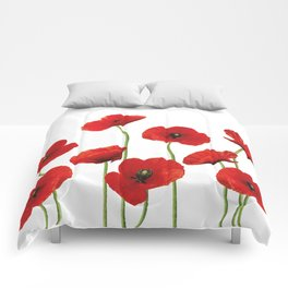 Poppies Field white background Comforters