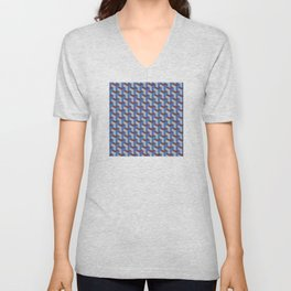 Cobalt Blue and Brown Geometric Marquetry Pattern Unisex V-Neck