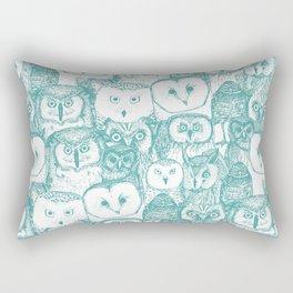 just owls teal blue Rectangular Pillow