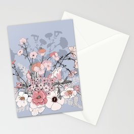 Bouquet of wild flowers. Petunias, lupines, pansies. Stationery Cards