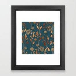 Art Deco Copper Flowers Framed Art Print
