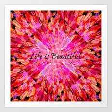LIFE IS BEAUTIFUL Bold Pink Bird Feathers Ocean Waves Painting Sea Romantic Love Girlie Abstract Art Print