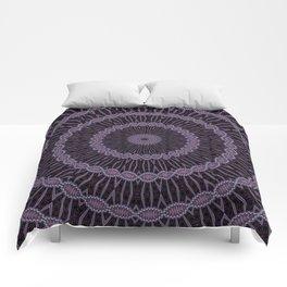 Eggplant and Pale Aubergine Circles Kaleidoscope Pattern Comforters