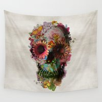 fashion illustration Wall Tapestries featuring SKULL 2 by Ali GULEC