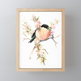 Bullfinch and Spring, Peach colored Floral bird art, spring soft colors Framed Mini Art Print