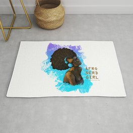 Afro Nerd Girl II (Blue) Rug