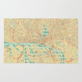 Hamburg Map Retro Rug