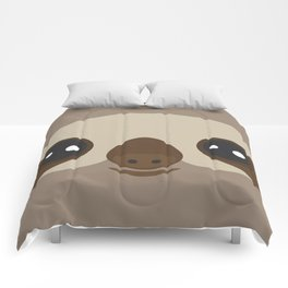 funny and cute smiling Three-toed sloth on brown background Comforters