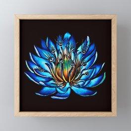 Multi Eyed Blue Water Lily Flower Framed Mini Art Print