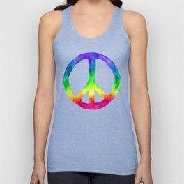Rainbow Watercolor Peace Sign - Black Background Unisex Tank Top