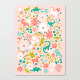 Dinosaurs + Unicorns in Pink + Teal Canvas Print