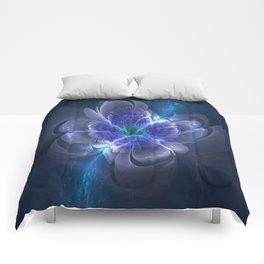3D Blue Flower V1 Comforters