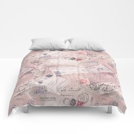 Nostalgic Letter and Postcard Collage Soft Pink Comforters