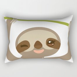 funny and cute smiling Three-toed sloth on green branch 2 Rectangular Pillow