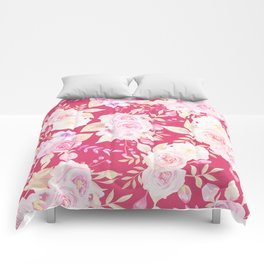 Modern magenta blush pink white watercolor roses floral Comforters