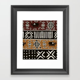 African mud cloth with elephants Framed Art Print