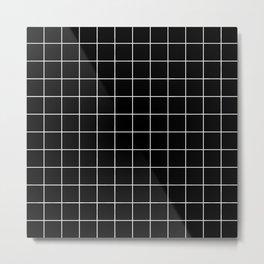 Grid Simple Line Black Minimalist Metal Print