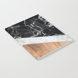 Stone Arrow Pattern - Black & White Marble & Wood #366 Notebook