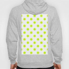 Polka Dots - Fluorescent Yellow on White Hoody