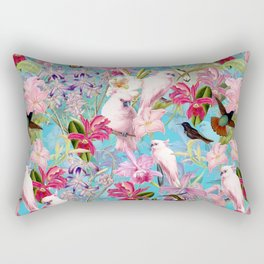 Vintage & Shabby Chic - Pink Tropical Birds and Orchid Flower Pattern Rectangular Pillow