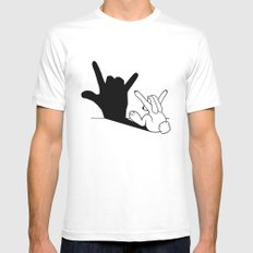 Rabbit Love Hand Shadow White Mens Fitted Tee LARGE