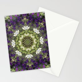 Icy White and Rich Violet Petunias Kaleidoscope Stationery Cards