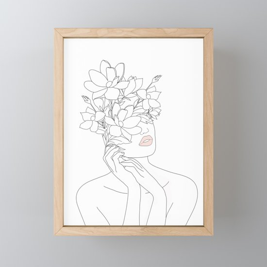 Minimal Line Art Woman with Magnolia by nadja1