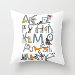 Dog Breed Alphabet Throw Pillow