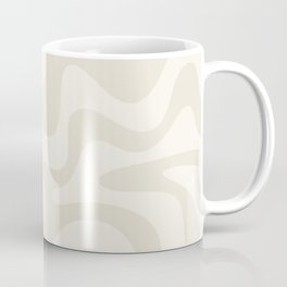 Liquid Swirl Contemporary Abstract Pattern in Barely-There Pale Beige and Light Cream  Coffee Mug