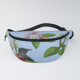 Tui in Pohutukawa Flowers Fanny Pack
