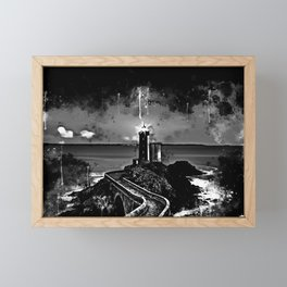 lighthouse plouzane wsbw Framed Mini Art Print