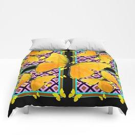 Golden Yellow Butterflies Pattern On Black Comforters