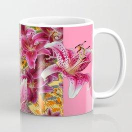 STAR GAZER  LILIES FLORAL MODERN PINK ART Coffee Mug