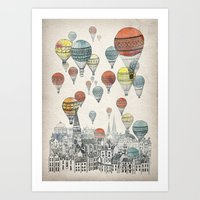 Art Prints featuring Voyages over Edinburgh by David Fleck