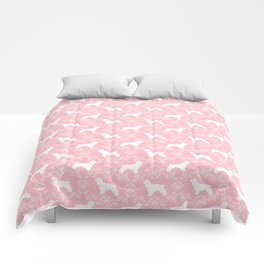 Cocker Spaniel pink and white minimal floral florals silhouette dog pattern Comforters