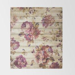 Rustic Vintage Country Floral Wood Romantic Throw Blanket