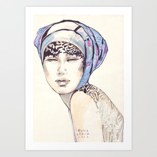 Woman portrait with blue turban Art Print
