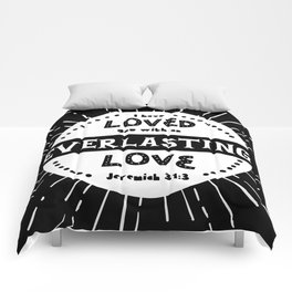"""""""Everlasting Love"""" Black and White Bible Verse Comforters"""