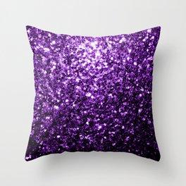 Beautiful Dark Purple glitter sparkles Throw Pillow