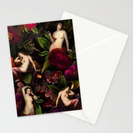 Antique Nymphs In Botanical Night Flower Garden  Stationery Cards