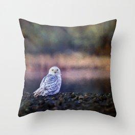 Snowy Owl squared Throw Pillow