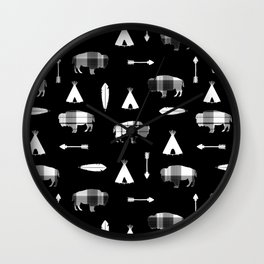 Buffalo Tribe on Black Wall Clock