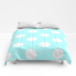 Large Polka Dots - White on Celeste Cyan Comforters