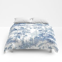 Powder Blue Chinoiserie Toile Comforters